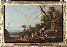 Giuseppe Zocchi (Firenze 1711-1767) Scena campestre con contadini presso una fontana Veduta costiera con contadini presso un monumento