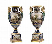Coppia di vasi Impero in porcellana a fondo blu, Francia XIX secolo