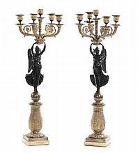 Coppia di candelabri Carlo X con figure femminili alate