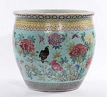 Cachepot in porcellana a decoro policromo, Cina XIX secolo