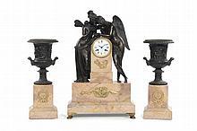 Trittico da camino composto da grande orologio marmo e bronzo