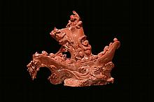 A carved red coral 'boat with