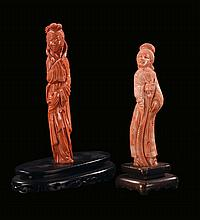 Two coral figures of Guanyin, China, early 20th
