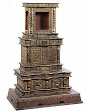 A rare wood altar richly decorated with coloured