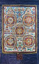 A Thangka with five medallions, Tibet, 18th