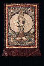 A Thangka decorated with figures of divinities,