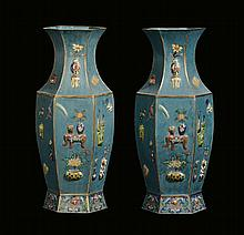 A pair of hexagonal-section cloisonné vases,