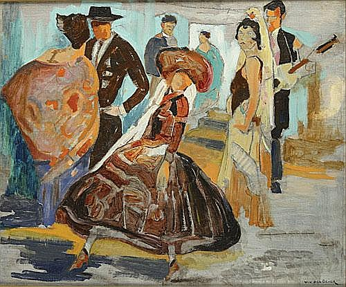 VAN DEN OEVER CONSTANT (1881 - 1952) Spaans feest.