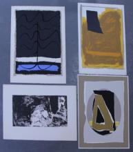 Adja Yunkers. Lot of 4 Abstract Lithographs. (P38)