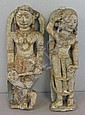 Pair of Carved or Cast Stone Indian Figures with
