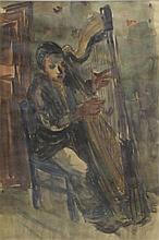 BARTA. 1905 Watercolor of a Harpist.