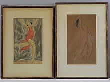 WALKOWITZ, Abraham. 2 Watercolors of Dancers.