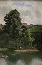 Late 19th C. American River Landscape.