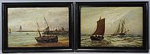 Pair of 19th C. Oils on Board of Ships on the