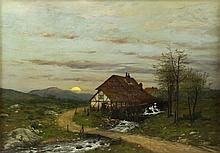 KLUTH, Robert. Oil on Canvas. House with Mill in Landscape.