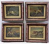 Set of 4 Early 19th C Oils on Tin Portrait of Dogs