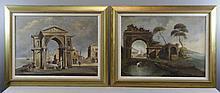 Pair of Vintage/Antique Oil on Canvas Italian Scenes.