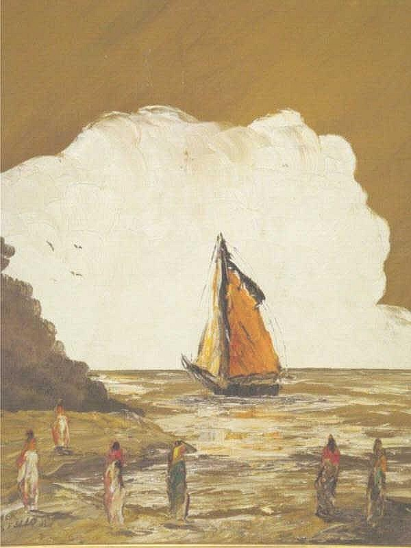 COSTELLO, Homer. O/Masonite seascape with figures.