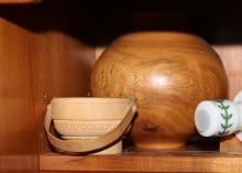 Turned wooden studio vase and small handled wooden bowl