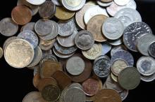 A box containing world coins