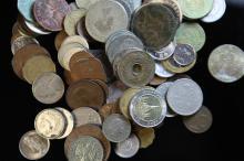 A bag containing world coins