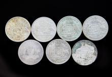 Seven Australian silver Florins