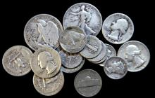 A selection of US coins including silver