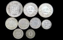 A small bag of Swiss coins including silver