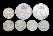 A bag of English coins