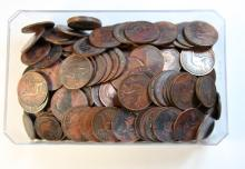 A large box of Australian pennies and Halfpenny's