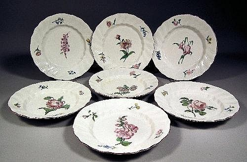 Seven 18th century Tournay porcelain botanical