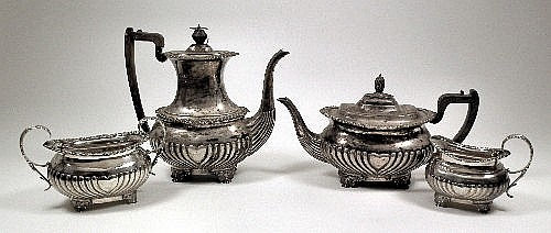A late Victorian silver four piece tea and coffee