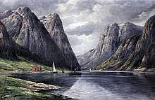 Theodor Ludwig Adam Restorff (1825-1896) - Oil painting - View of a Norwegi