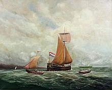 19th Century Continental School - Oil painting - Shipping at sea with maste
