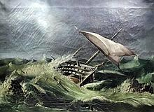 19th Century English School - Oil painting - A shipwrecked ship of the line
