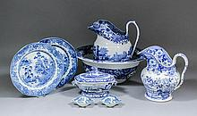 A collection of English blue and white printed pottery, including - Late 19