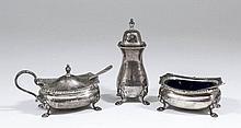 An Elizabeth II silver three piece condiment set of Georgian design with ga