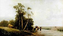 19th Century British School - Oil painting - Landscape with river and figur
