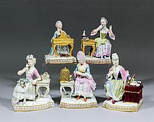 A set of five 19th Century Meissen porcelain figures emblematic of the