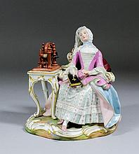 A 19th Century Meissen porcelain figure of a seated woman in 18th Century d