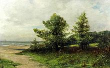 19th Century British School - Oil painting - Rural landscape of trees and t