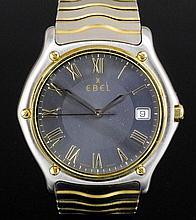 A modern gentleman's stainless steel and 18k gold Ebel Datejust quartz wris