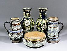 A pair of late 19th Century Doulton Lambeth