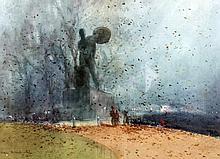 Hal Hurst (Henry William Lowe - 1865-1938) - Watercolour - Autumn scene in