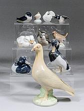 A collection of ten Royal Copenhagen porcelain models of birds, including -