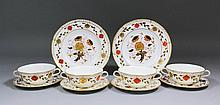 Six Royal Crown Derby bone china two-handled soup bowls painted and decorat