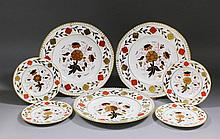 Six Royal Crown Derby bone china dinner plates painted and decorated in gil