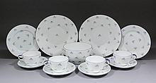 A Shelley blue and white porcelain twelve place setting part tea service