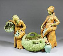 A late 19th/early 20th Century Austrian Amphora  pottery figural group of t