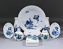 A Royal Copenhagen blue and white porcelain circular bowl painted with flow